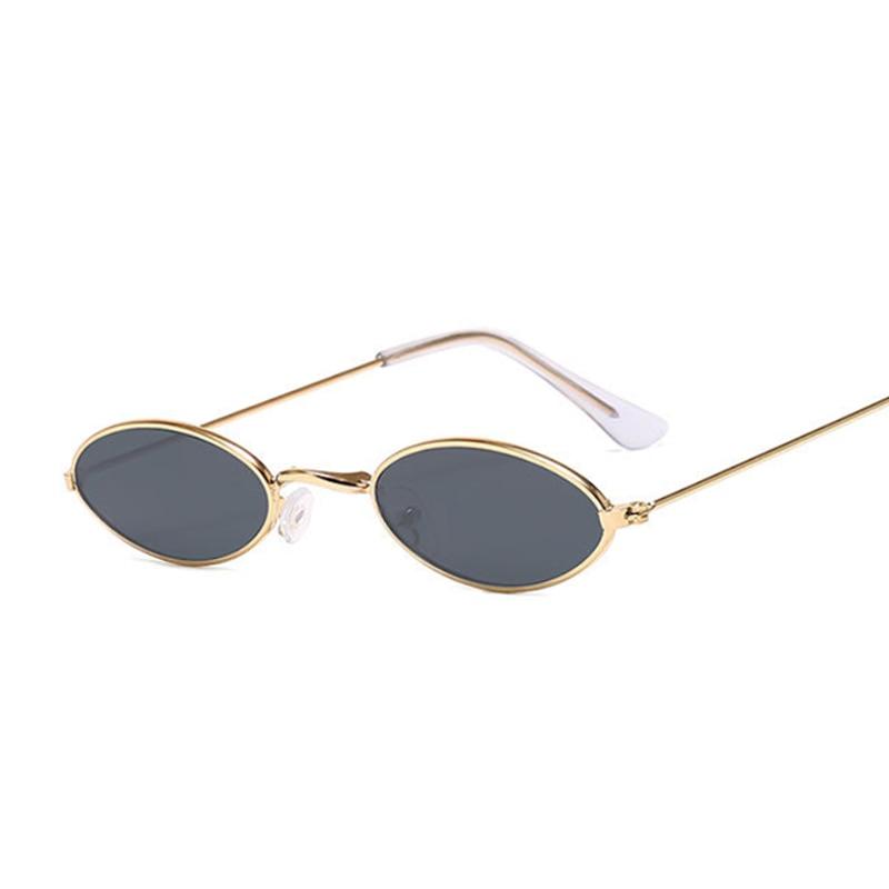 Retro Small Oval Sunglasses Women Vintage Brand Shades Black Red Metal Color Sun Glasses For Female Fashion Designer Lunette 4