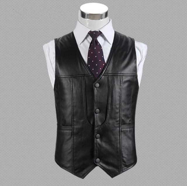 Men's genuine leather vests cowhide sheepskin Tops sheep leather vest the elderly Waistcoat Jacket Outwear