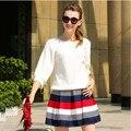 2016 вязать свитер топы и юбка подходит женщинам тяжелый ручной труд вершины высокой талией печать плиссированные юбки комплект