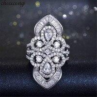 Choucong роскошная женская суд кольцо 5A Циркон CZ 925 серебро Обручение обручальное кольца для мужчин и женщин барокко ювелирные изделия