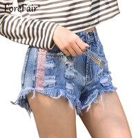 Forefair Moda Ripped Patchwork Borla Calças Jeans Femininas Buraco Azul Do Vintage de Cintura Alta Shorts Mulheres Short Jeans 2018