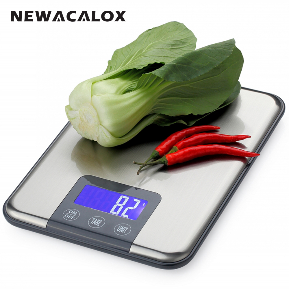 NEWACALOX Digital Kitchen Scale 15KG x 1g Protein Food Die Postal Fish Balance Cuisine Lcd Eletronic Weighing Health Scales 30g 0 001g precision lcd digital scales gold jewelry weighing electronic scale
