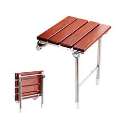 Сиденье для душа откидное настенный Ванная комната Ванна безопасности стул с Поддержка ногами твердая древесина Bench Туалет стул для
