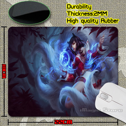 Personalized Luxury Art LoL Ahri Game Design Gaming PC Anti-slip Laptop Mouse Mat for Optical/Trackball Mouse