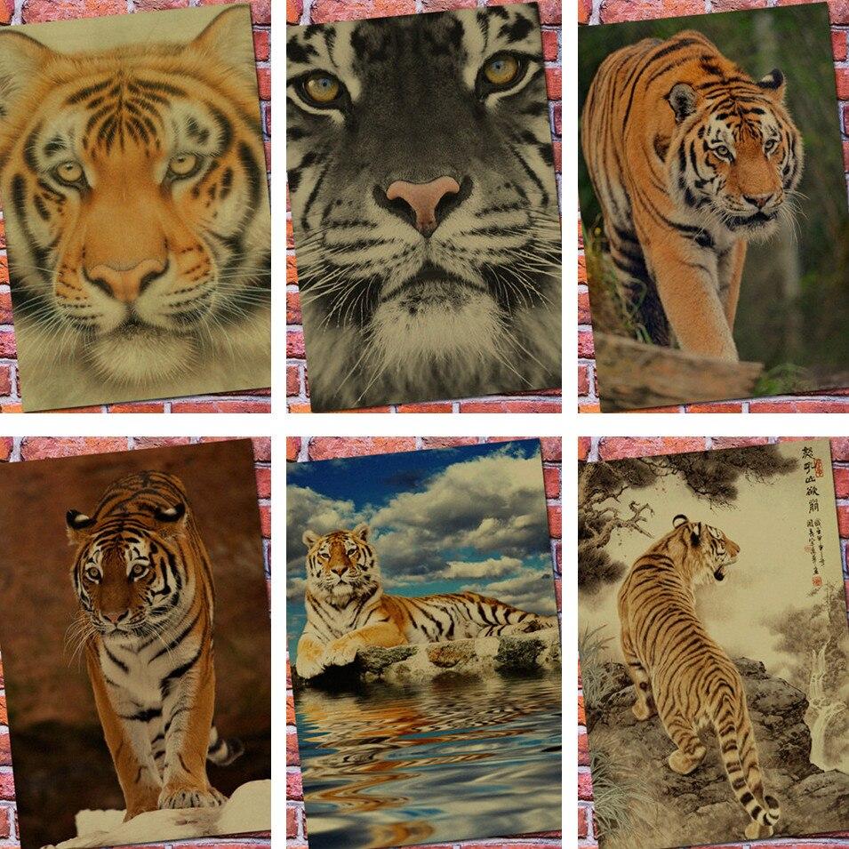 Tiger Home Decoration Wall Sticker Print Stylish Retro