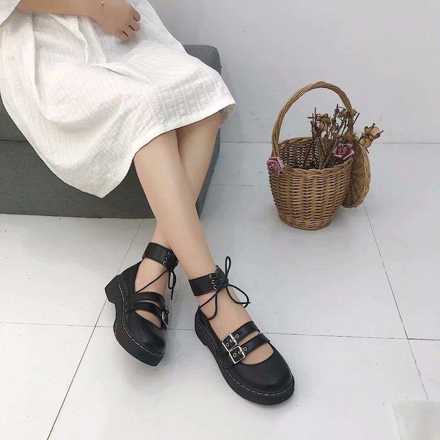 로리타 신발 Uwabaki JK 라운드 발가락 버클 스트랩 레이스 업 일본 학교 학생 제복 드레스 여자 블랙 귀여운 로우 컷 펌프