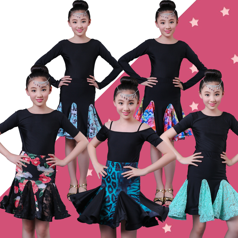 Girl Practice Latin Dancing Dress 5 Fashion Style Skirt Competition Performance Clothes Girls Ballroom Practice Latin Dress