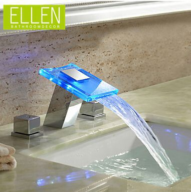 LED waterfall faucet 3 hole basin mixer glass water tap double ...