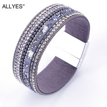 ALLYES Wide Leather Bracelet For Women Jewelry Handmade Vintage Rhinestone Crystal Female Wrap Cuff Bracelets & Bangles Femme(China)