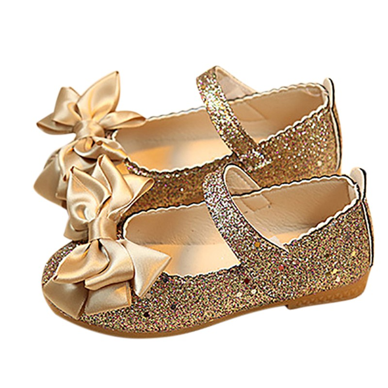 Spring Autumn Girls Single Shoes Artificial PU Small Shoes Bright Leather Princess Shoes Bow Flat Shoes Children's Flats