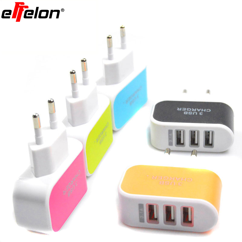 Effelon <font><b>5V</b></font> 2A 3 Ports USB <font><b>Charger</b></font> AC Adapter for iPhone 6S & 6S Plus/ iPad Air 2 & Air/ Samsung Galaxy S7 / S6 / S5/S3 image