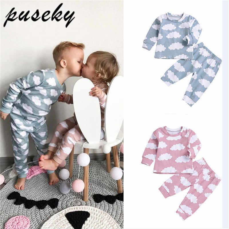 Puseky/Одежда для маленьких мальчиков и девочек футболка «облако», топы + штаны, Семейные пижамы, одежда Зимний комплект с длинными рукавами для новорожденных, теплая одежда для малышей