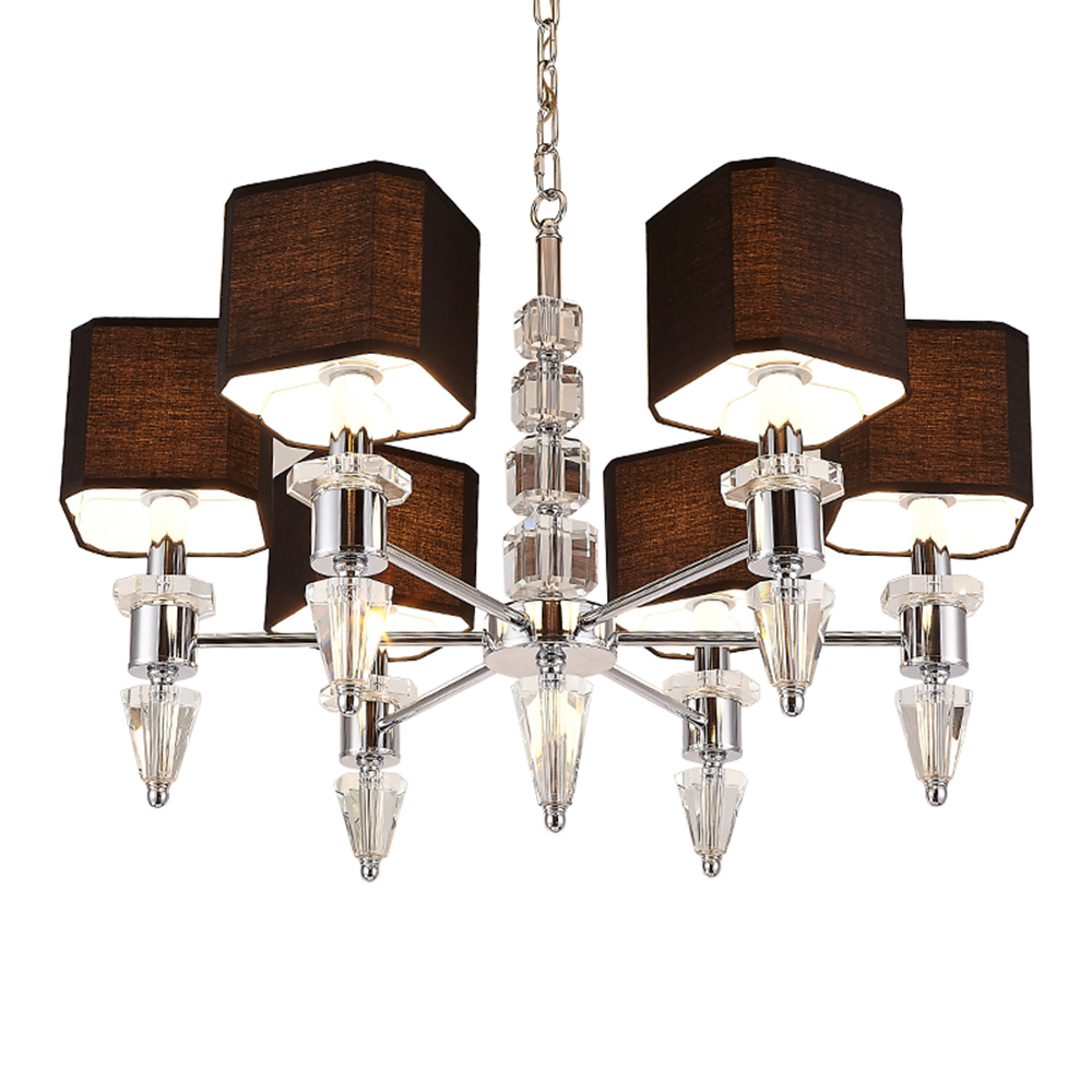 Modern Crystal Chandelier with Shade LED Luster Design Black Chandelier 110-220v Wrought Iron Chandelier Luminarias