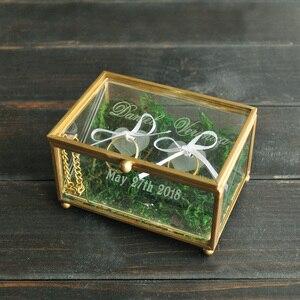 Image 2 - Niestandardowy obrączka na okaziciela, spersonalizowany ślub pudełko na pierścionek szklane pudełko geometryczny szklany pierścień pojemnik na pudełko, spersonalizowana biżuteria Box