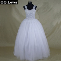 QQ Lover 2017 Hot sale Sexy Sweetheart Princess Pearl Wedding Dress Lace up or Zipper Vestidos De Noiva With Straps