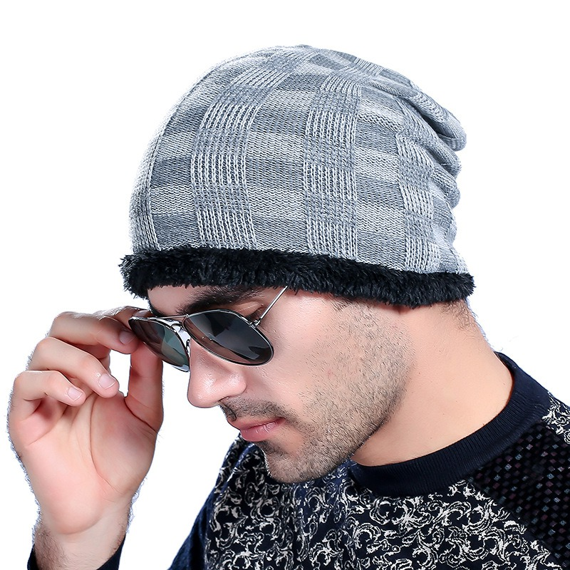 Elastic Hat Winter Hat For Man Skullies Beanies Solid Knitted Hat Warm Cap Men Beanies Cap 5 COLORS skullies