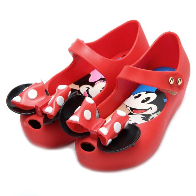 48d149bcb760e Mini Melissa 2 Layer Bow Mouse Twins Kids Sandals 2018 New summer Jelly  Melissa Shoes Soft