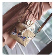2017 Summer Beach Bag Women Straw Messenger bag Female Shoulder Crossbody Bag Tassel Bag Lady bag caompact bag