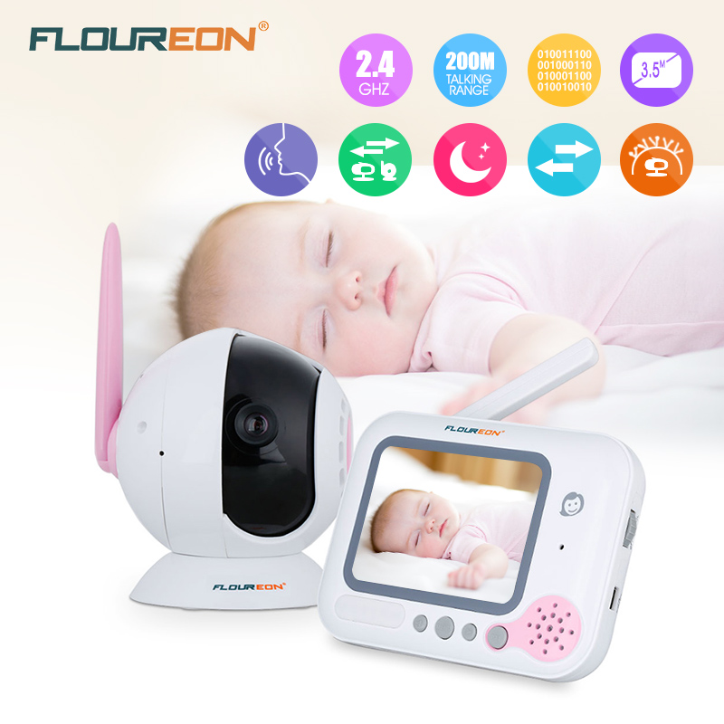Floureon 3.5 Inch Wireless Digital Baby Monitor Color LCD Two Way Talk Night Vision Audio Video baby Security Camera floureon 3 5 inch wireless digital baby monitor color lcd two way talk night vision audio video surveillance security camera