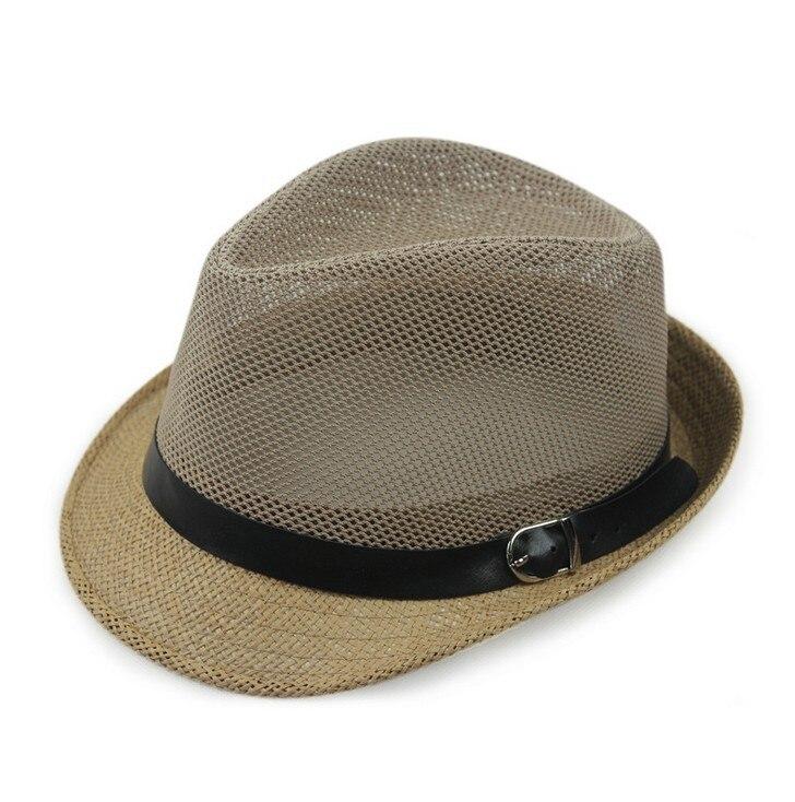 Kagenmo дышащая сетка ремень пряжка летняя соломенная мужская шляпа Корейская пляжная соломенная шляпа женская шляпа солнцезащитный козырек крутая 6 цветов 1 шт - Цвет: C