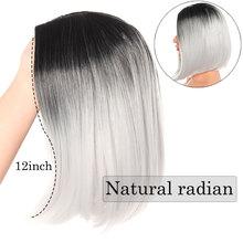 SNOILITE черный серый короткий прямой BOB парик 12 дюймов средняя часть волос парик ombre  Лучший!