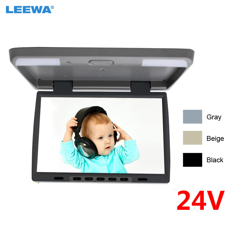 LEEWA DC24V 15.4 Inch Car/Bus TFT LCD Roof Mounted Monitor Flip Down Monitor 2-Way Video Input 3-Color Black, Grey, Beige #1291