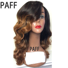36C Human Hair Lace Front Wigs Natural Wave Peruvian Non Remy Hair Wig 150% Density Ombre Two Tone color T1B/27 with Baby Hair