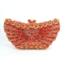 Red Butterfly Shape Evening Bag Rhinestones Clutch Bag Handmade Diamante Bling Bag Pochette Party Purse Wedding Bag SC234