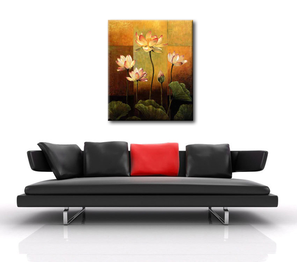 Noble pure lotus flowers canvas painting for bedroom reproduction oil painting for office room canvas art in painting calligraphy from home garden on
