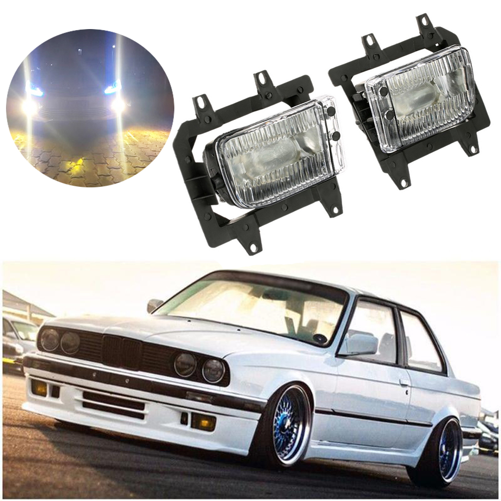2PCS Bumper Front Crystal Clear Fog Light Lamp Case Cover Daytime Running Light Lamp For <font><b>BMW</b></font> <font><b>E30</b></font> 318i 318is 325i <font><b>325is</b></font> image