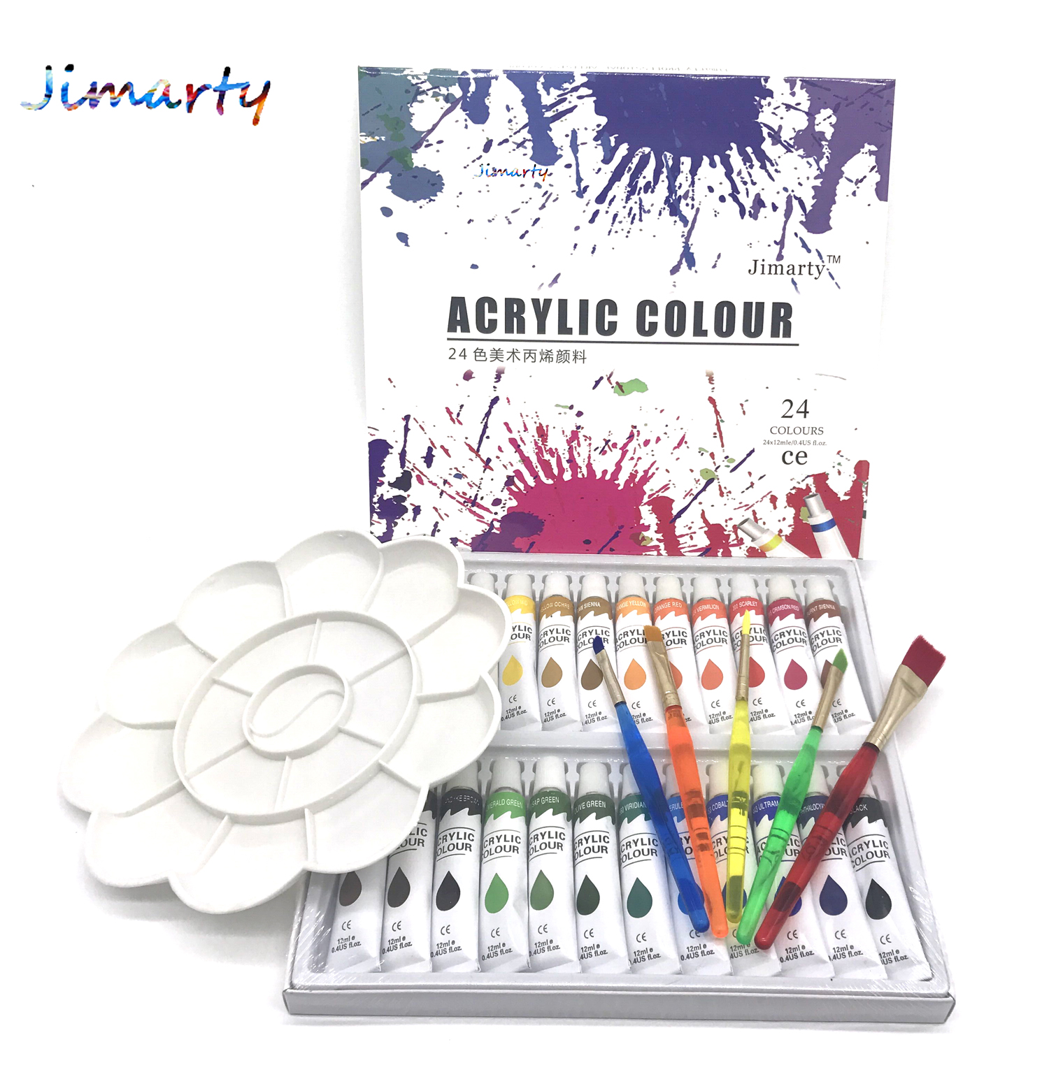 Water-resistant 24 Colors 12ML Tube Acrylic Paint set color with 5paint brush palette Art Painting paint fabric Drawing set 24 colors 12ml acrylic paint set color nail glass art painting paint for fabric drawing tools