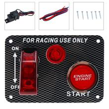 9.5CM Racing Car 12V LED Ignition Switch Panel Engine Start Push Button Toggle Carbon Fiber for racing