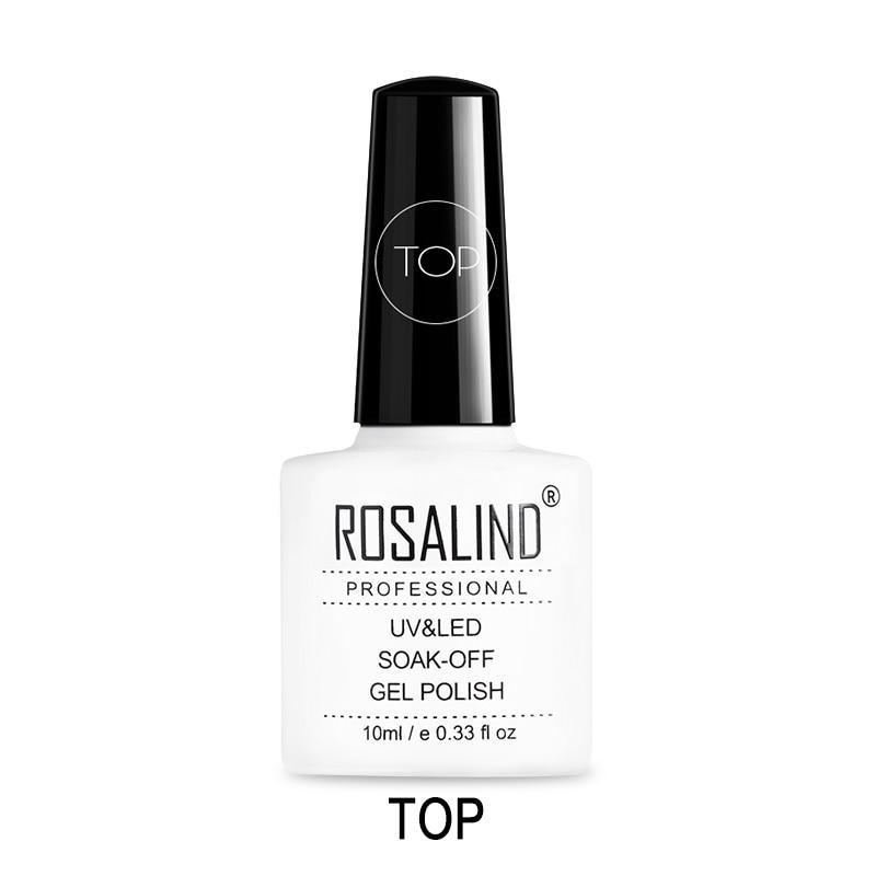 Верхнее покрытие ROSALIND 10 мл УФ-гель для ногтей, прозрачный СВЕТОДИОДНЫЙ Гель-лак для маникюра, стойкий лак для дизайна ногтей