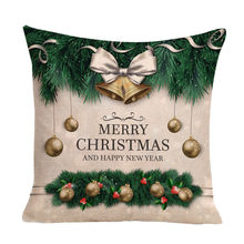 Happy Christmas Vintage Text printing Cushion Cover Soft Comfortable Square Sofa Waist Throw Pillow Cover Home Decoration(China)