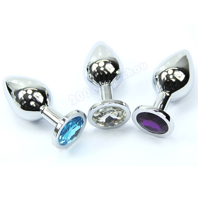 Anal Insert alloy Metal Plated Jeweled Sexy Stopper