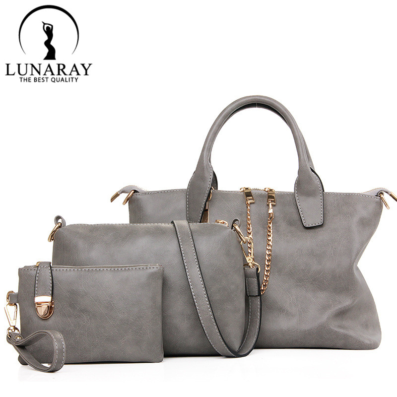 3pcs/set composite bags women leather handbag zipper large capacity female messenger bags bolsas women casual shoulder bags