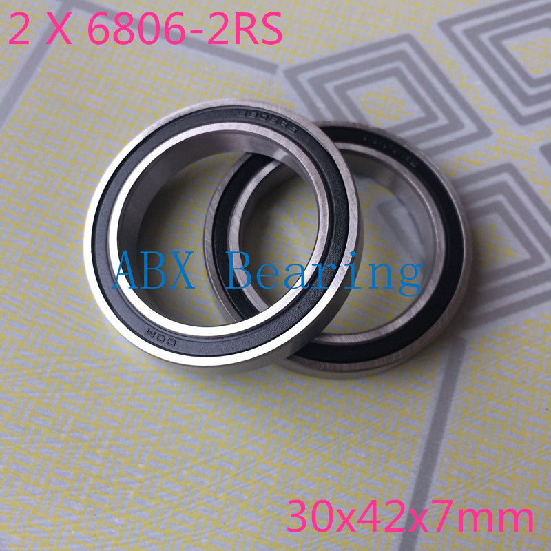2pcs/lot 6806-2RS 6806 61806-2RS 61806 hybrid ceramic deep groove ball bearing 30x42x7mm free shipping 6806 2rs cb 61806 full si3n4 ceramic deep groove ball bearing 30x42x7mm bb30 bike repaire bearing