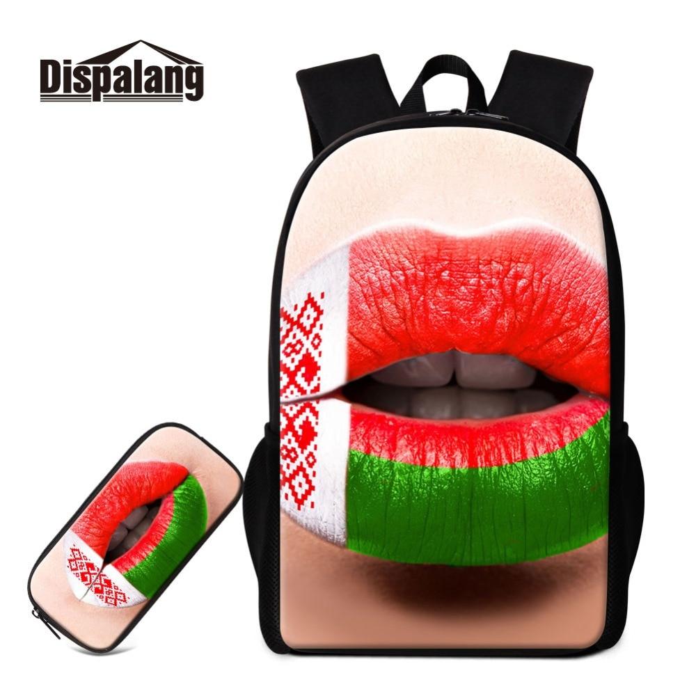 Dispalang 3D éléments russes Style imprime sur sac à dos et boîte à crayons ensemble cartables avec étui à stylo étudiants fournir sac à dos fille
