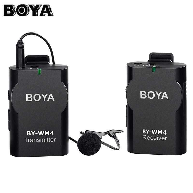 BOYA BY-WM4 Professional Wireless Microphone Lavalier Lapel Mic for Canon Cameras for Smartphones DSLR Camcorder Recorder boya by wm5 lavalier clip on mic audio studio recorder wireless microphone microfone for canon sony gopro dslr camera camcorder