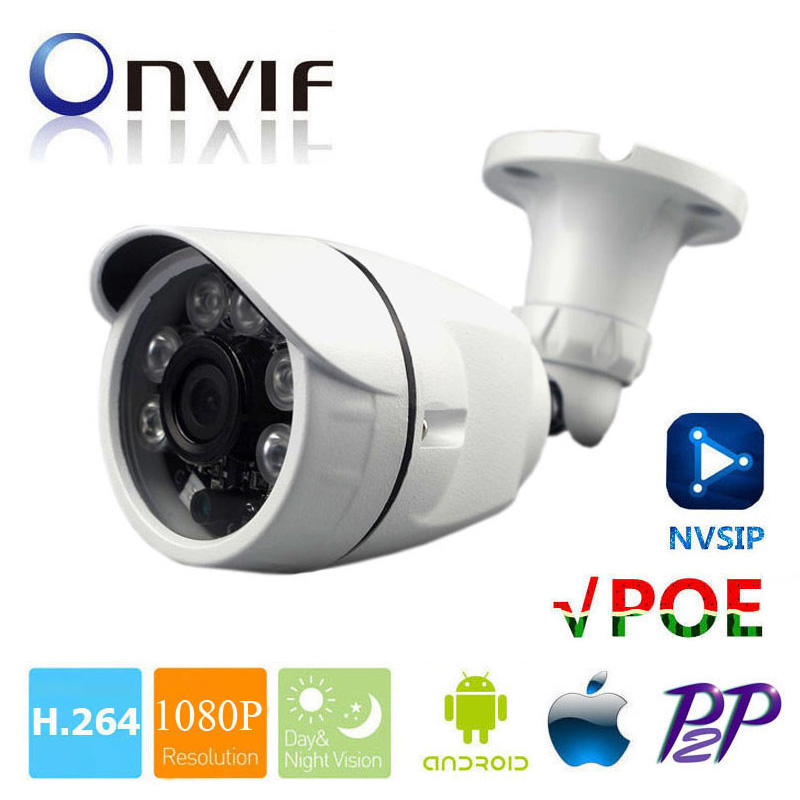 IP Camera PoE Outdoor Full HD 1080P 2MP POE Bullet IP Camera Security P2P ONVIF 1080P Lens Waterproof Array IR LED Night Vision outdoor waterproof white metal case 1080p bullet poe ip camera with ir led for day