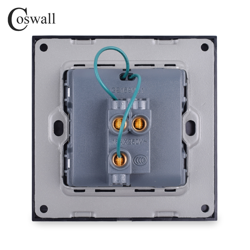 Coswall 1 Gang 2 Way On / Off Wall Light Switch Switched LED Indicator Pass Through Switch Knight Black Aluminum Metal Frame
