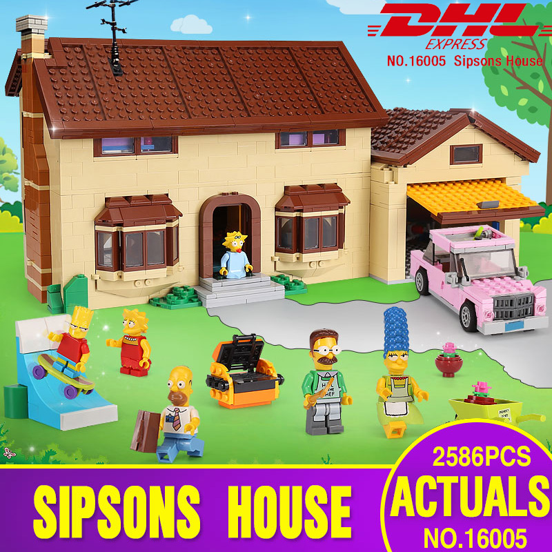 Free shipping DHL 16005 Simpsons House 2575Pcs Model Building Block Bricks Compatible with 71006 Toys Gift