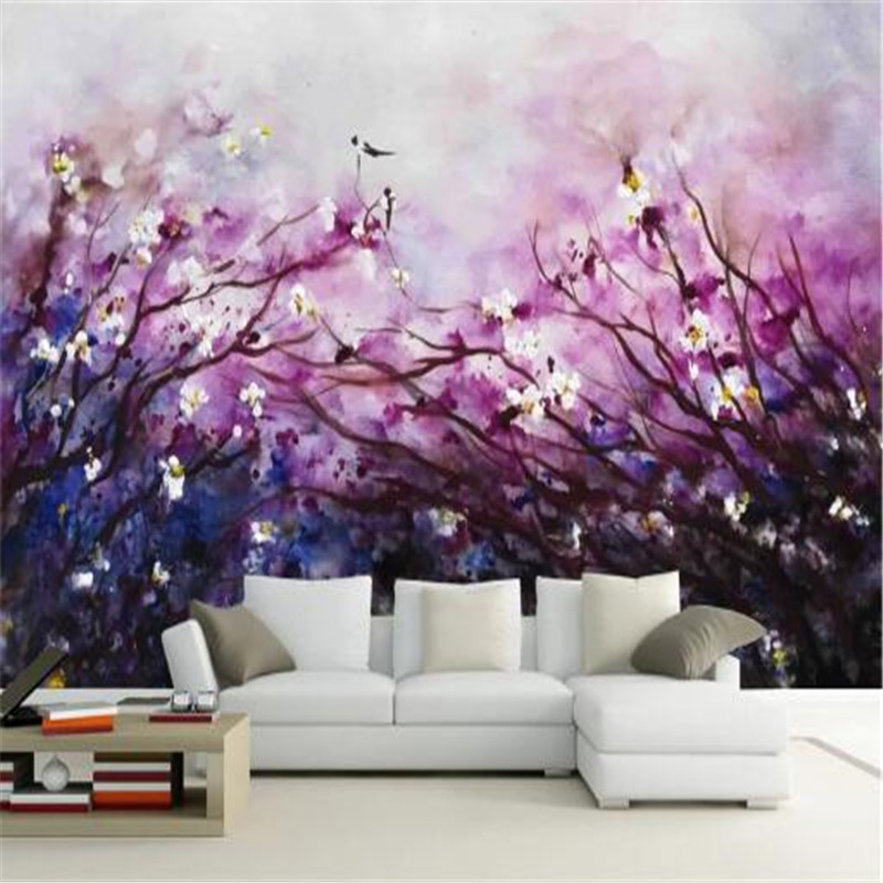 Painting 3D Wall Paper for Walls Art Purple Non-Woven Wallpapers Fantasy Cherry Blossom Mural Decorative Wallpapers Living Room shinehome trees sun ray morning forest 3d wallpaper mural wallpapers for 3 d wall living room non woven walls mural wall paper