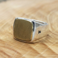 Real 925 Sterling Silver Vintage Punk Fashion Mens Rings Wide Flat Surface Simple Design Square Shaped Biker RIng