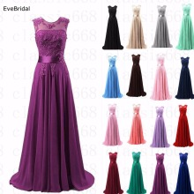 A-line Scoop Chiffon Applique elegant off-shoulder cheap bridesmaid dre