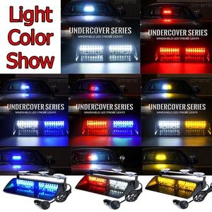 Image 2 - Car 16 LED Red/Blue Amber/White Signal Viper S2 Police Strobe Flash Light Dash Emergency Flashing windshield Warning Light 12vv