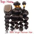 Best Selling 10 Grau Onda Solta Malaio com Fechamento 4 PCS Humano Malaio Virgem Do Cabelo 3 Bundles com Fechamento Barato cabelo