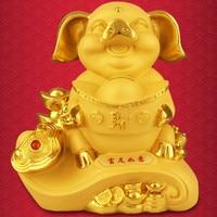 Cartoon Golden Pig Piggy Bank Coin Bank Money Box Saving Money saving tank Pen container Home Decor Favor Gift Resin B