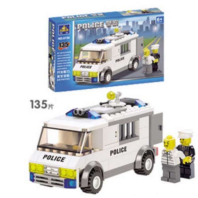 6730 Kazi City Police Prison Van Police Escort Car Model Building Blocks Enlighten Figure Toys For Children Compatible Legoe b1600 sluban city police swat patrol car model building blocks classic enlighten diy figure toys for children compatible legoe