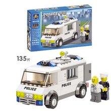 6730 Kazi City Police Prison Van Police Escort Car Model Building Blocks Enlighten Figure Toys For